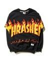 Flame Thrasher Hoodie Men Skateboard Sweartshirt Bat sleeve Warm Pullover Black Hoodie Sweat Homme Trasher Hoody Size M-XXL