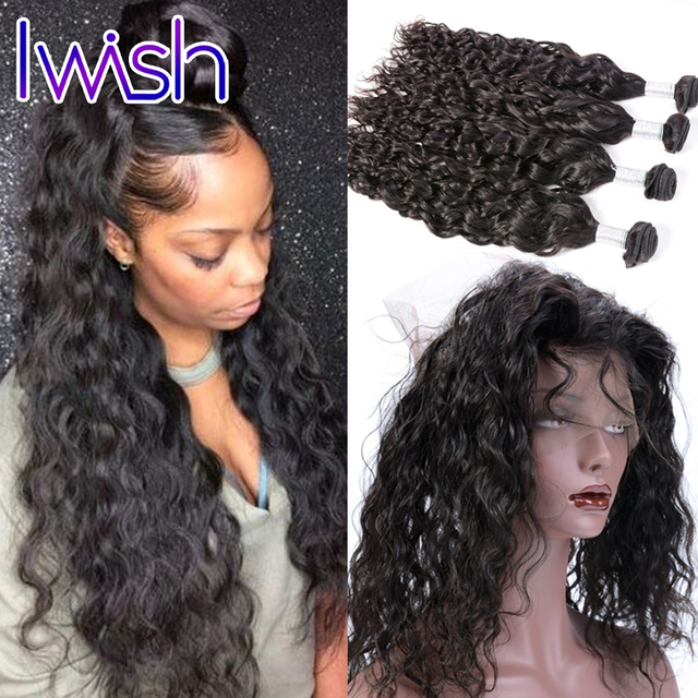 Peruvian Water Wave Hair With 360 Lace Frontal Closure Natural Hairline Preplucked Peruvian Virgin Hair With 360 Frontal Wavy