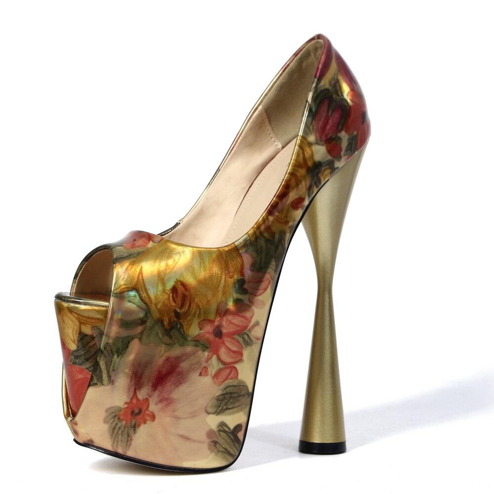 Taille forme rose Sexy 19 Femmes Cm Toe Pompes Plate Plus Peep Discothèque Talons La Mode Extreme Chaussures Soirée Fleur 47 Rose Or vxwS54