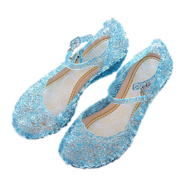 VOGUEON Girls Summer Sandals Princess Elsa Buckle Crystal PVC Baby Kids Birthday Party Cosplay Accessories Girl Dance Shoes