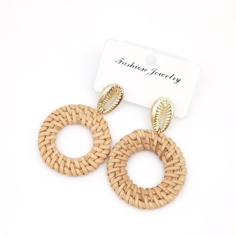 Bohemian Wicker Rattan Knit Pendant Earrings Handmade Wood Vine Weave Geometry Round Statement Long Earrings for Women Jewelry 12