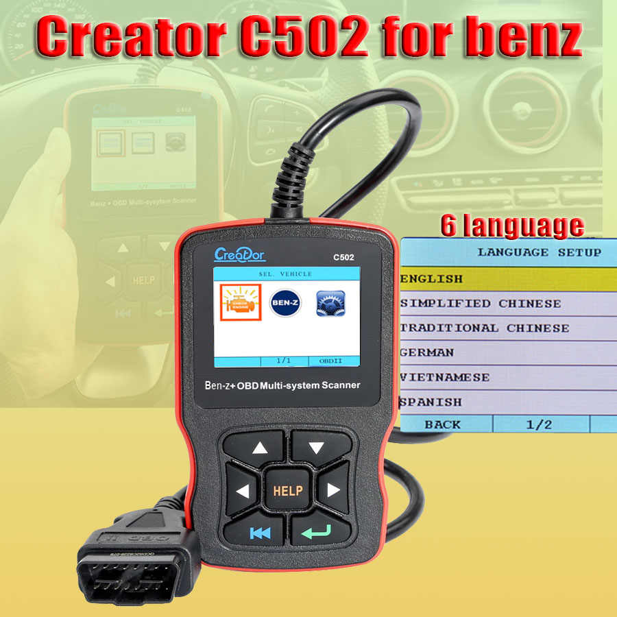 Creator C502 for Mercedes for Benz OBD2 EOBD Auto Scanner Code Reader  Diagnostic Tools W211 W210 C200 W203 W204 ABS Airbag