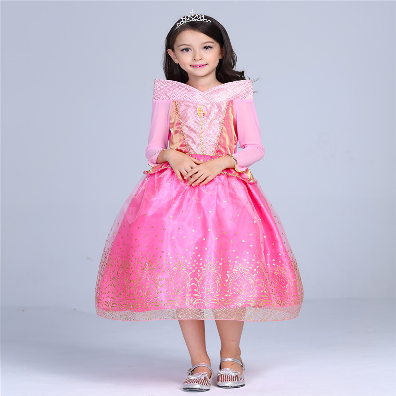 Pink Aurora Princess Sleeping Beauty Girl Dress Carnival Costumes for Children Halloween Kids Girls Long Sleeve Dresses GDR203 sleeping beauty like princess pet bed for miniature poodle mini schnauzer pekingese etc