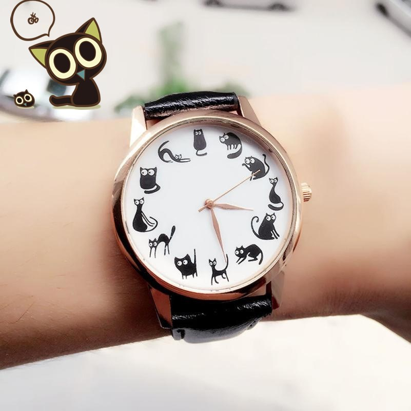 New Coming Lovely Cats Leather Band Analog Quartz Vogue Wrist Watches relogio feminino Ladies Watch reloj mujer xfcs Horloges чехол для samsung galaxy a7 2016 sm a710f clear view cover черный