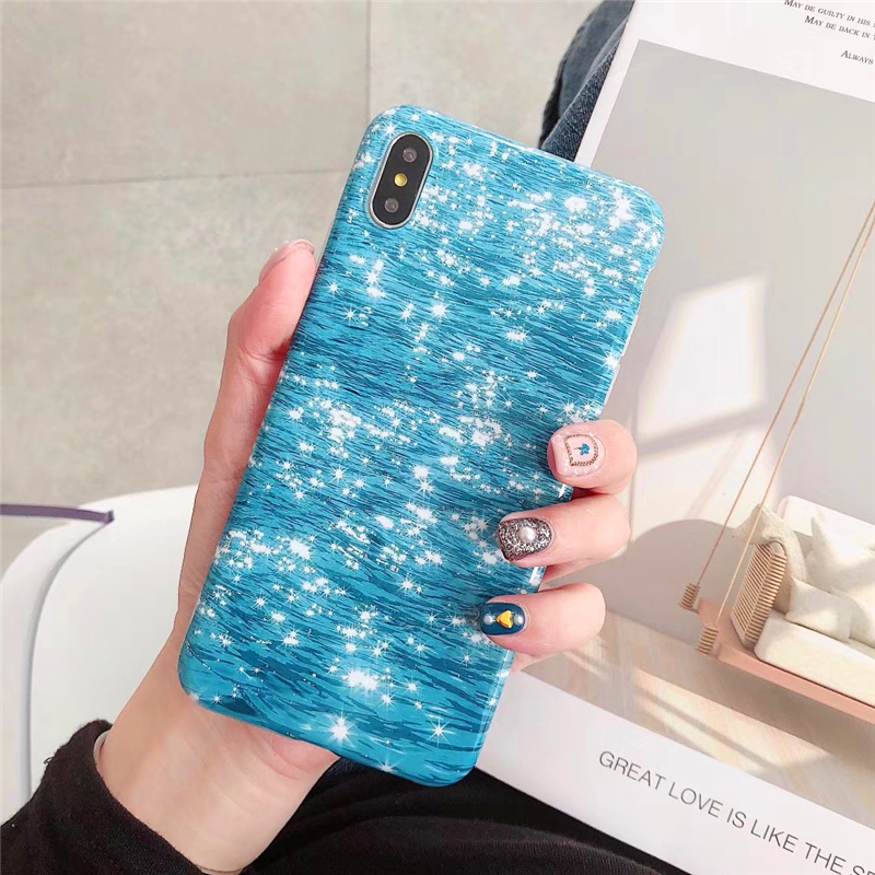 New Cover Case For iphone 6 6S 7 8 Plus X 10 XR XS Max Feather Gold Foil  Peacock eye  Glitter Luxury Soft TPU phone Cases Coque