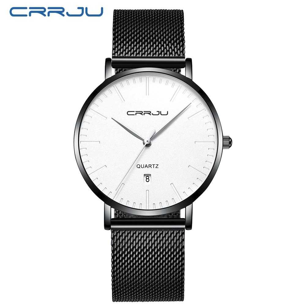 CRRJU 2019 New Men Watch Casual Ultra-thin Mesh Strap Quartz Watch Fashion Minimalist Date Display Wristwatch Relogio Masculino