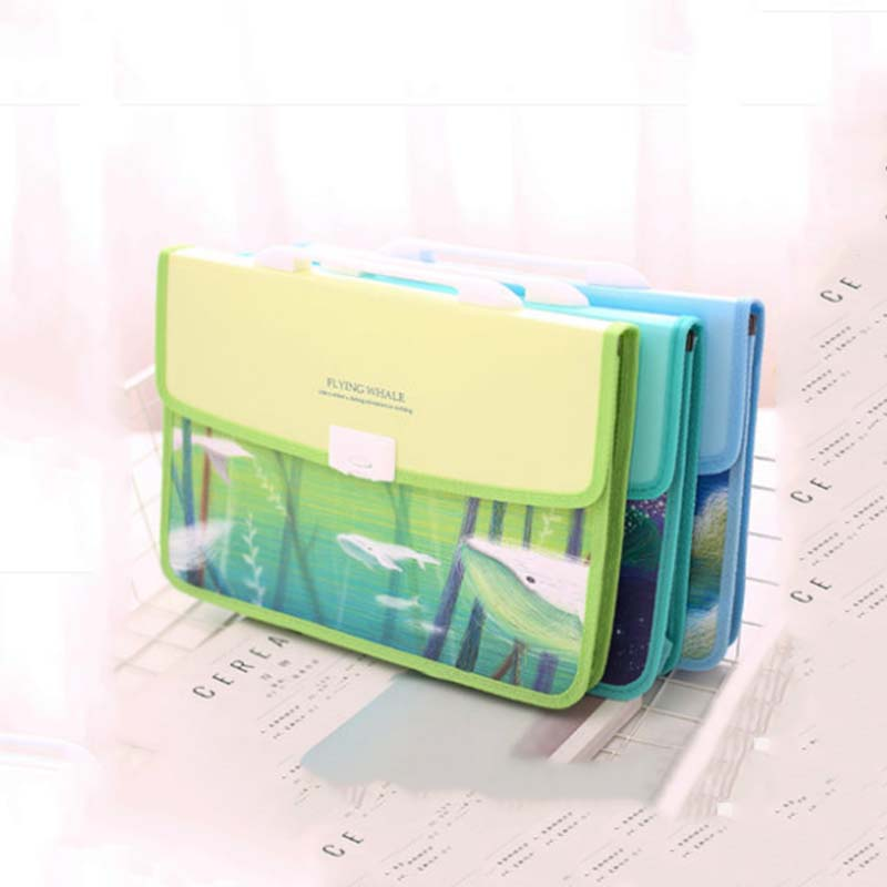 1Pcs A4 multi-layer File Bag Waterproof Business A4 File Folder Durable Fishes Expanding Document Bag coloffice 1pcs cartoon cute flamingo filing production 20 sheets expanding folder multi function clip file document file folders