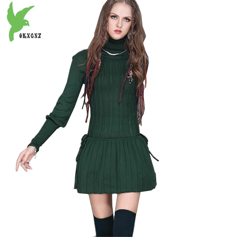 New Fashion Knit Dress Women Spring Autumn High collar Sweater Dress Short Knit Mini Dress Slim Bottom Pleated Dress OKXGNZ 1484