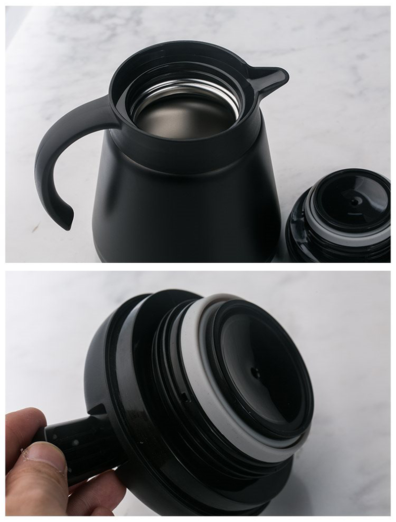 800ml Thermos Bottles Office Coffee Hot Vacuum Flasks Stainless Steel Thermal Insulation Pot European Style Water Jug White