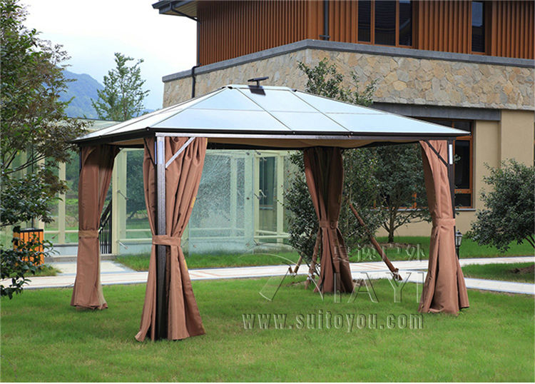 3*3.6 meter PC board Solar panels power storage garden gazebo outdoor tent canopy aluminum sun shade pavilion with LED sm206 solar power meter for solar research