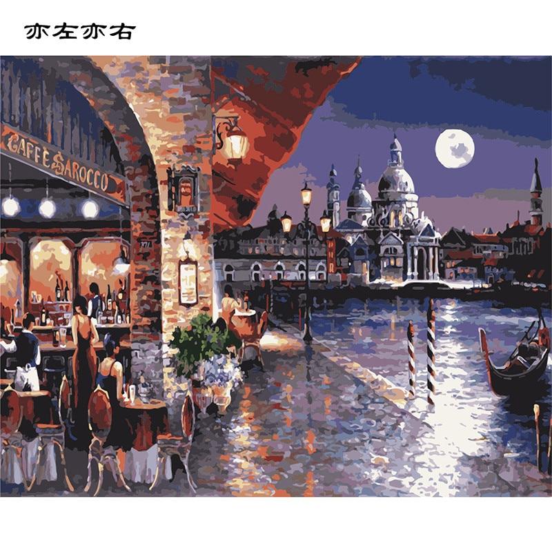 Moonlight Restaurant Landschaft DIY Digitale Malerei Durch Zahlen Moderne Wandkunst Leinwand Malerei Einzigartiges Geschenk Wohnkultur 40x50 cm
