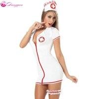 Dangyan زائد الحجم مثير تيدي ممرضة زي مع الساق حزام sm تأثيري مثير ازياء المثيرة اللباس الكبار