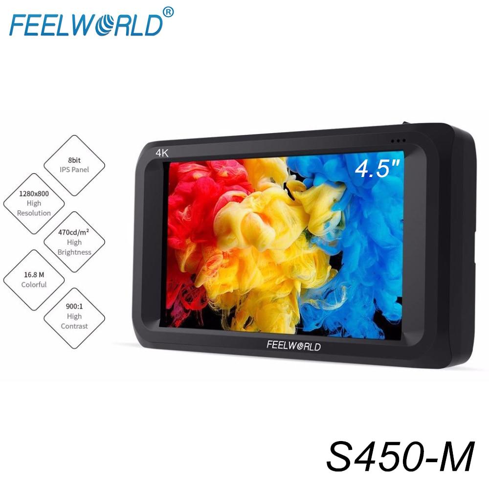"Feelworld S450 M 4.5 Inch IPS 3G SDI 4K HDMI On camera Field Monitor 4.5"" 1280x800 Camera External LCD Monitor for Cameras DSLRMonitor   -"