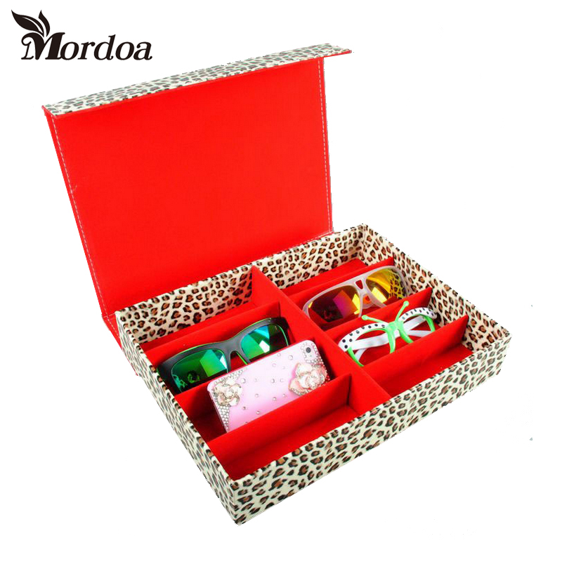 2017 Mordoa Leopard Print 8 Slot Grid Eyewear Sunglasses Case Sunglass Display Box Eyeglass Glasses Jewelry Storage Tray/Shelf mordoa 12pcs glasses storage display case box eyeglass sunglasses optical display organizer frames tray 3d glasses display rack