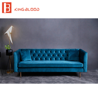 Turkish style Furniture Black Velvety 3 Seater Chesterfield Sofa couch Set Living Room