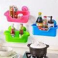 Cocina de Pared Esquina Canasta de Almacenamiento de plástico ABS Baño Estante ventosa de vacío