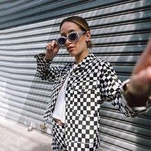 Женская клетчатая укороченная куртка осень 2019 Harajuku клетчатые куртки Уличная короткая пальто Tumblr Одежда для девочек клетчатый Топ