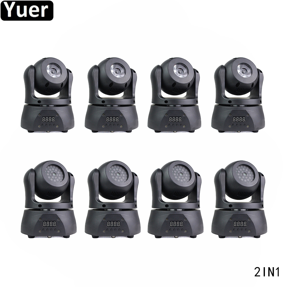 8Pcs/Lot KTV Home Party 2IN1 Double Sided Moving Head Light 15W 4IN1 CREE Lamp DJ Disco Light For Wedding Color Music Lights