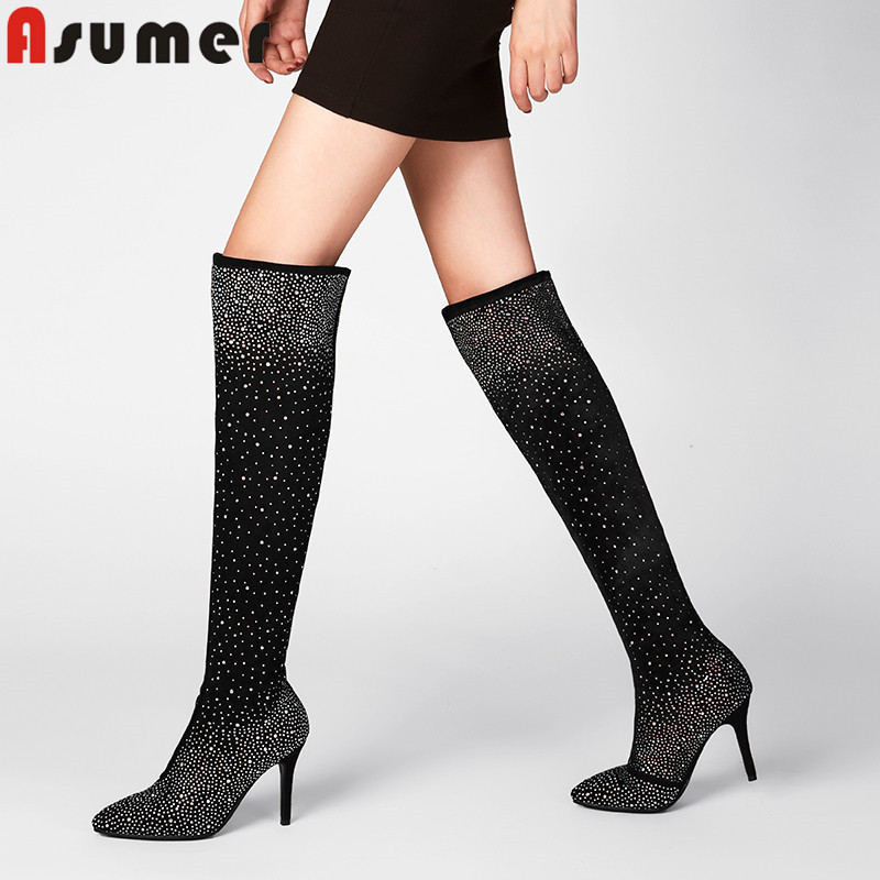 ASUMER big size 32-43 over the knee boots women pointed toe flock autumn winter boots thin high heels thight height ladies boots women stretch flock leather over the knee boots sqaure high heel fashion pointed toe boots autumn winter long boots plus size 43