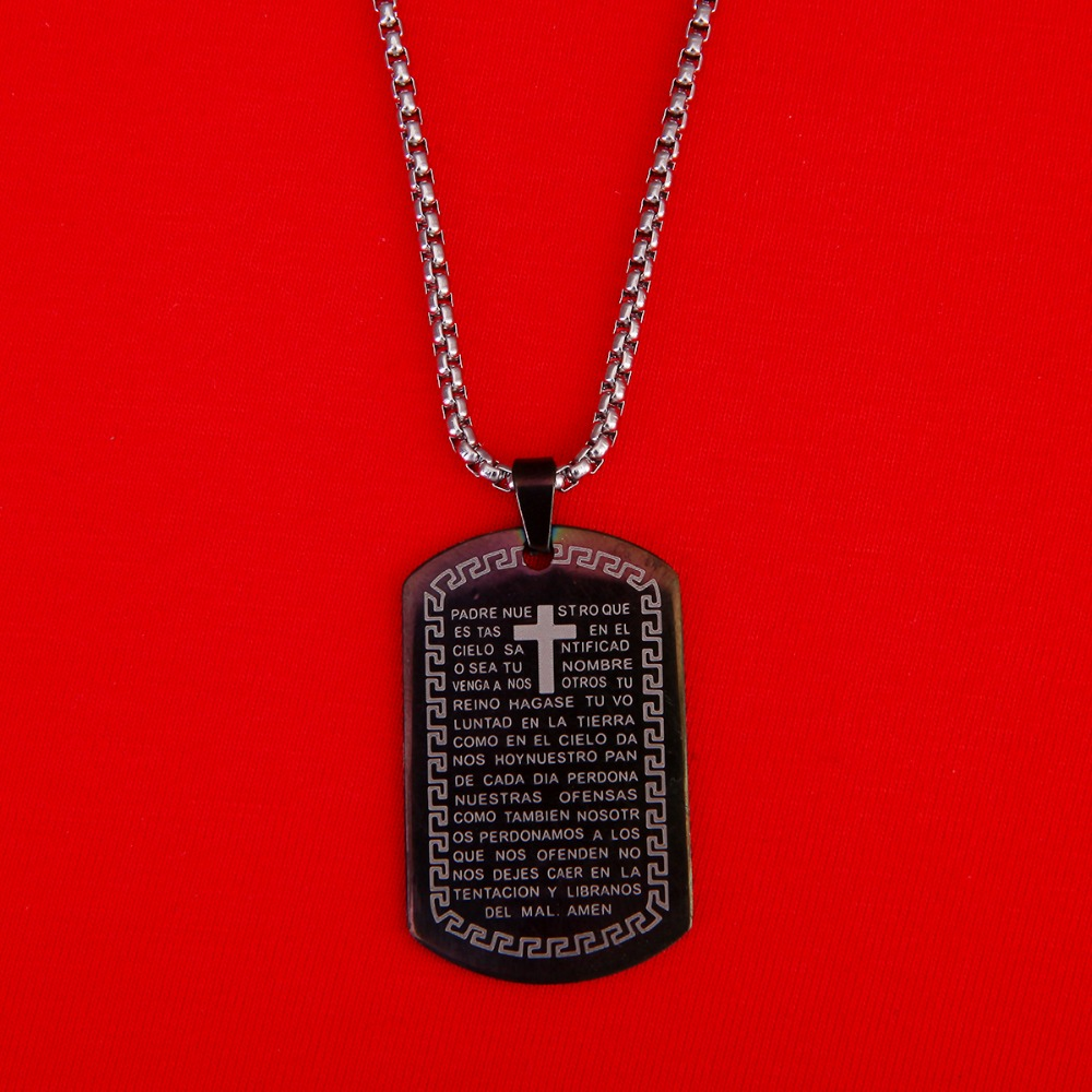 Dog tag cross necklace pendant stainless steel chain black bible dog tag cross necklace pendant stainless steel chain black bible verse christian cross jewelry for men women in pendants from jewelry accessories on aloadofball Gallery