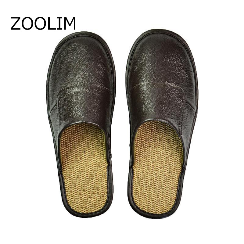 ZOOLIM Men Home Slippers Linen Home Slippers Indoor Bedroom Sandals male Sheepskin Leather Floor Slippers House Shoes