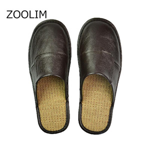Image 1 - ZOOLIM Men Home Slippers Linen Home Slippers Indoor Bedroom Sandals male Sheepskin Leather Floor Slippers House Shoes