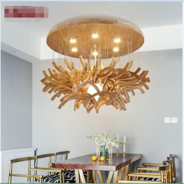 Nordic personality art restaurant living room LED Pendant Lights creative new Chinese simple solid wood pendant lamps LU630 ZL31 artistic creative personality restaurant lights bar hanging lights simple honeycomb solid wood pendant lamps chandelier