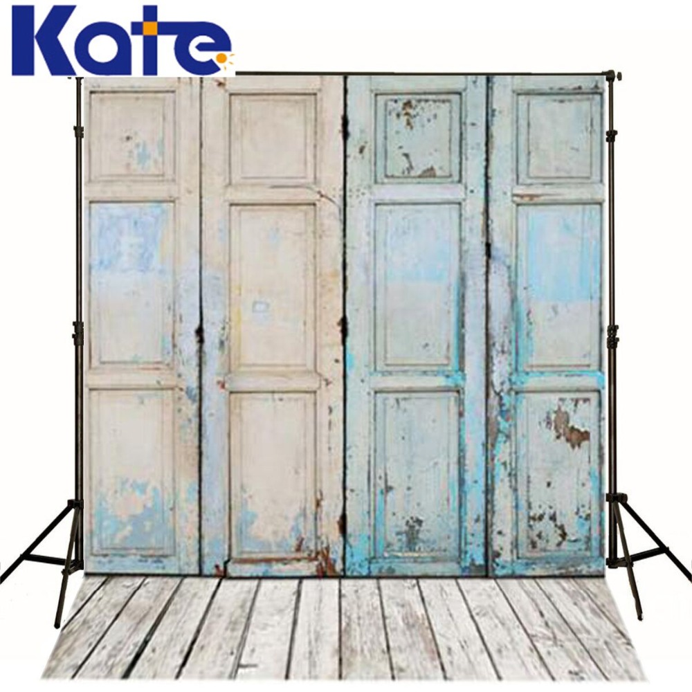 Kate Digital Photography Background Wood Floor Rusty Iron Gate For Children Photo Studio Blue Photographic Backdrop