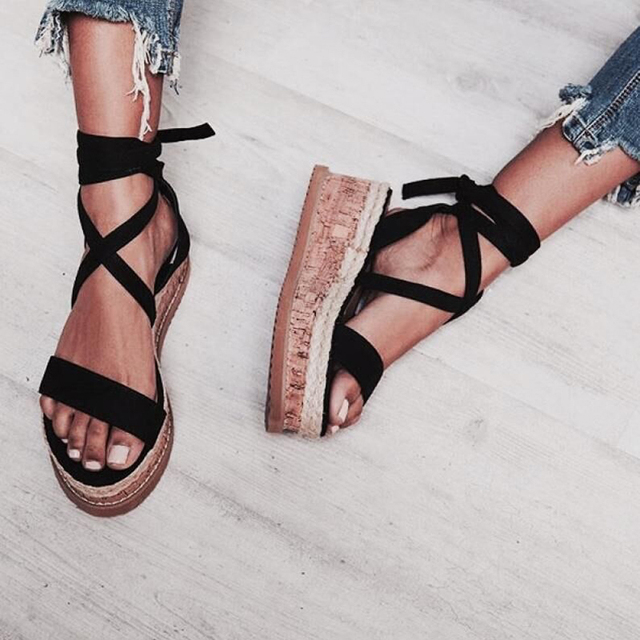 f6f40c6528b US $26.65 40% OFF|Aliexpress.com : Buy Teahoo Black Ankle Strap Women  Sandals Open Toe Wedge Espadrilles Women Lace Up Platform Sandals Women  Fashion ...