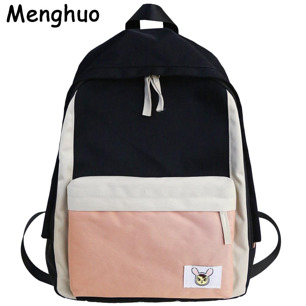 Menghuo Women Canvas Patchwork Backpacks Waterproof School Bags For Teenagers Girls Laptop Backpacks 2019 High Quality Mochilas
