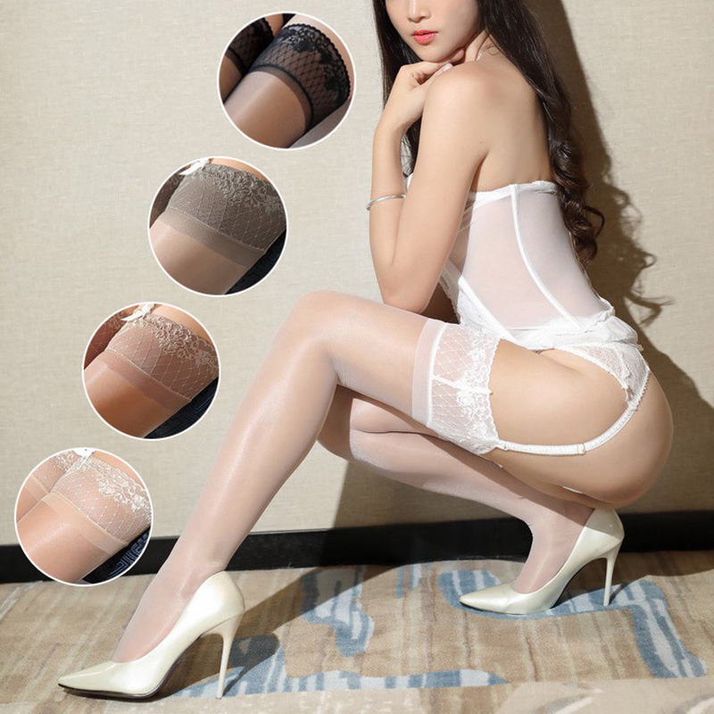 New Oil Shine Stockings For Women Flower Lace Silicone Anti-slip Lace Top Thigh-high Elastic Sexy Glitter Medias Lingerie