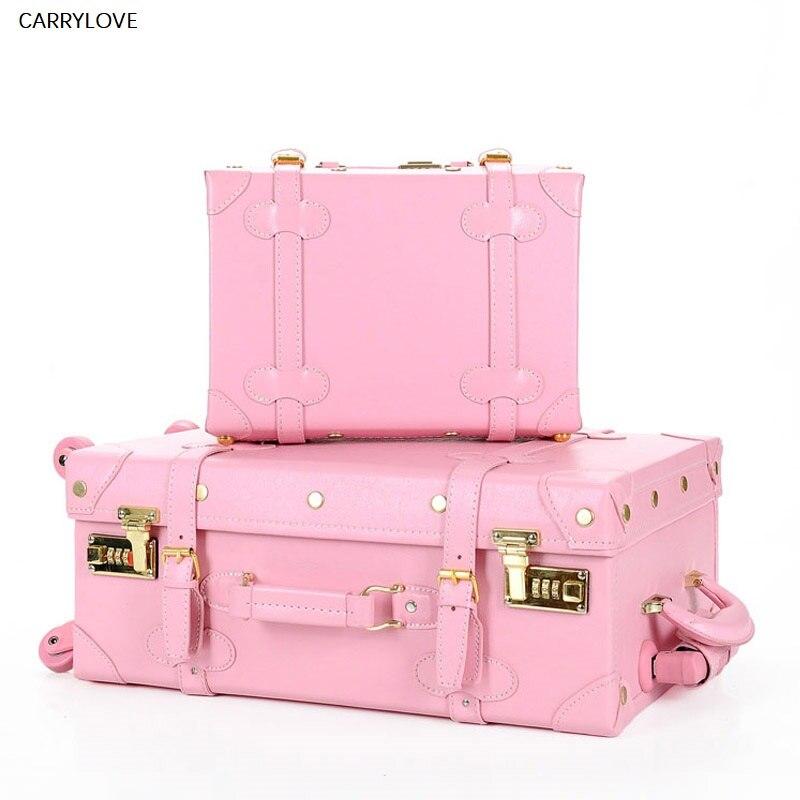 CARRYLOVE haute qualité fille PU cuir trolley sac à bagages ensemble, belle valise vintage rose complet pour femme, rétro bagage cadeau
