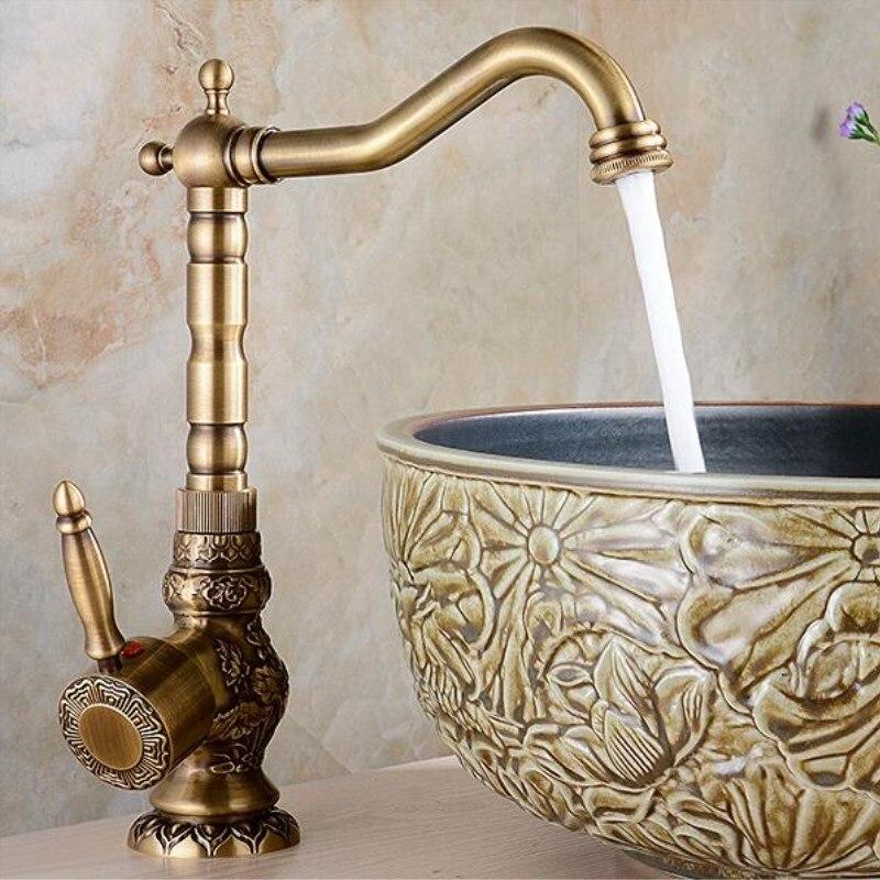 купить Brass Kitchen/Basin Faucet Antique Faucet Retro Carved Basin Faucet Rotating Single Handle Single Hole Hot And Cold по цене 5086.89 рублей