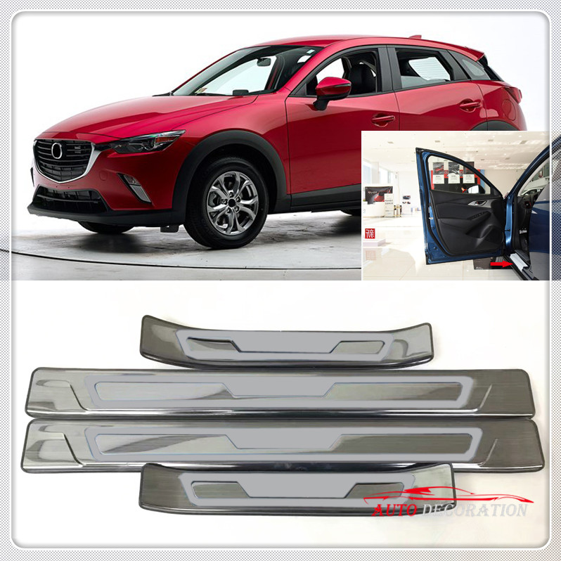 For Mazda CX-3 CX3 2015 2016 2017 2018 Exterior Car Styling Outer Door Sill Scuff Protector Guard Plate 4pcs/set sports car door sill scuff plate guard sills for 2014 mazda 6 atenza m6