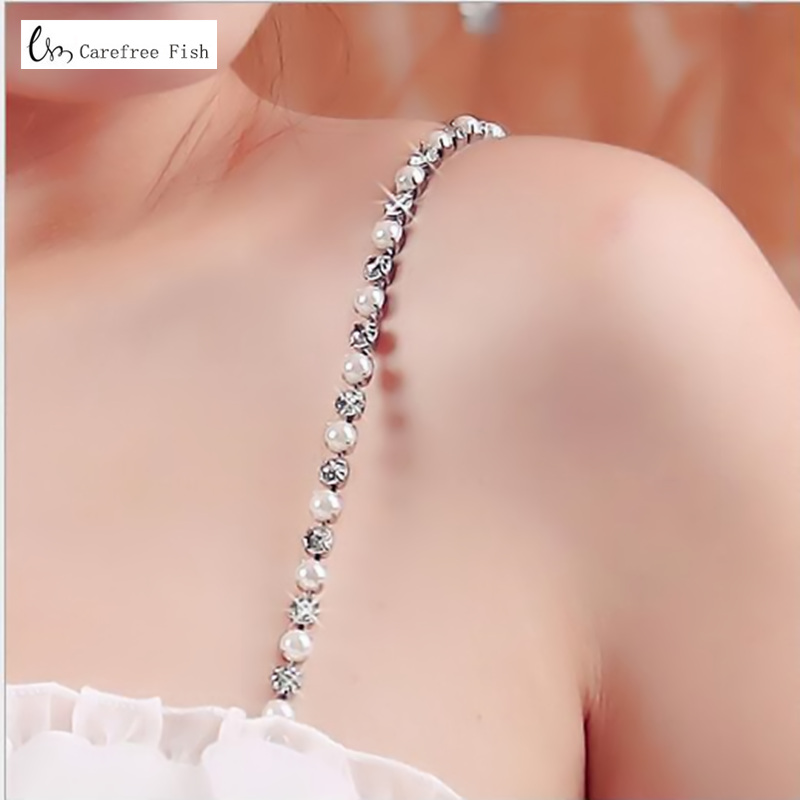 Top Imitation Pearls Invisible Bra Straps Dress Faux Bra Straps Single Row Clear Crystal Sex Chain For Bridal Wedding Prom 1007