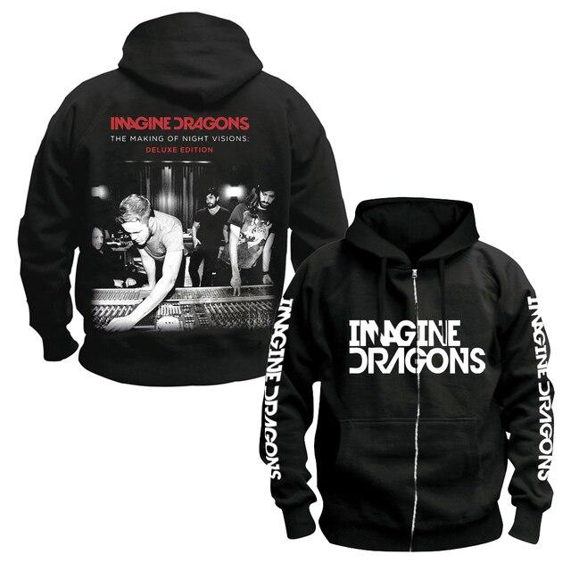 Bloodhoof Imagine Dragons ร็อคอินดี้ Alternative ROCK Punk band ชายผ้าฝ้ายสีดำ Hoodie ขนาดเอเชีย