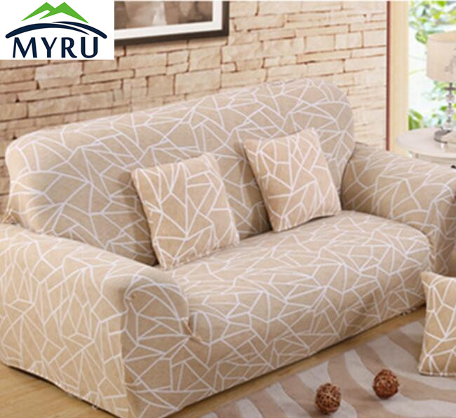 Beige striped sofa cover big elasticity flexible couch - Copridivano beige ...