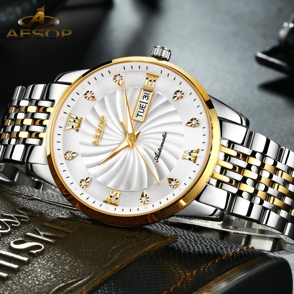 Ultra Thin Watch Men Automatic Mechanical Luminous wristwatch mens Japanese movement tainless steel Band waterproof clock