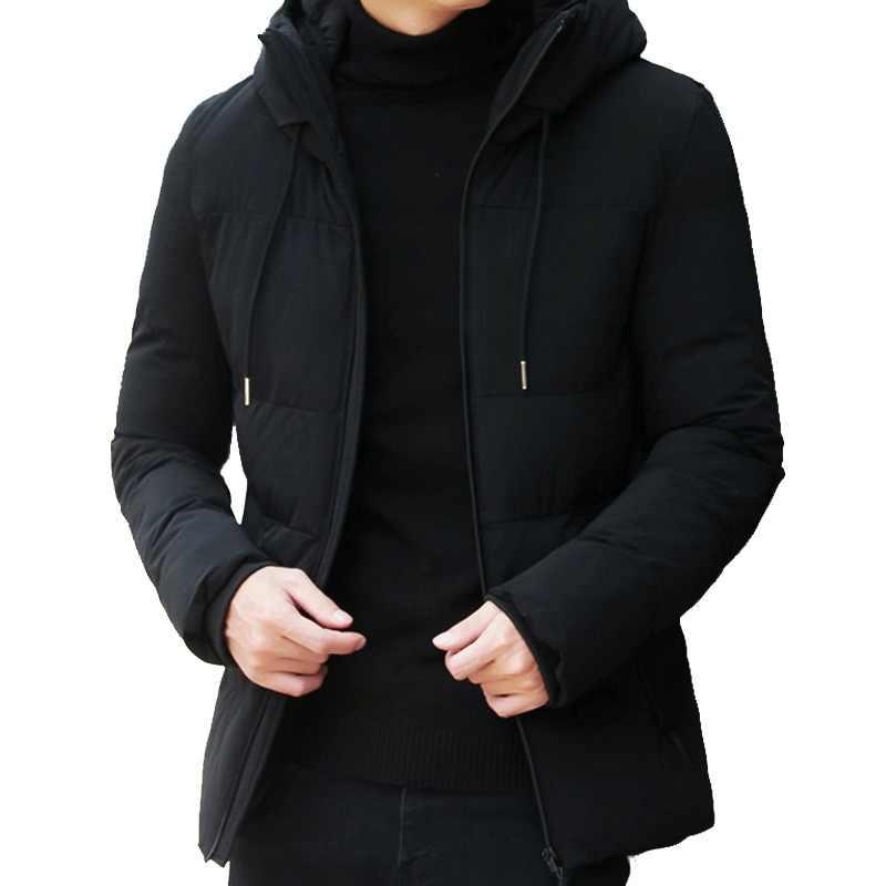 eb29379b3e4 Брендовая зимняя куртка мужская одежда 2018 Повседневная воротник-стойка с капюшоном  воротник модное зимнее пальто