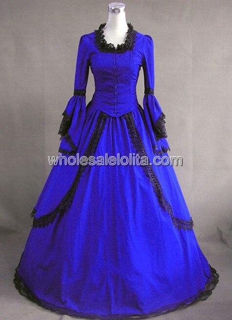 Королевское синее винтажное платье в викторианском стиле для продажи - Цвет: Синий