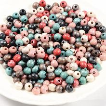 New Style DIY 200Pcs Wooden Beads Round Ball Spacer Beads For Jewelry Making Natural Wood Charms 6mm/8mm Colorful Silver Plated(China)