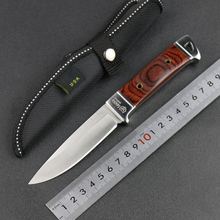 Outdoors Tactical Hunting Knife Fixed Blade Camping Knife Wood Handle