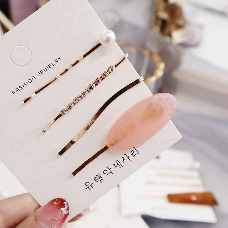 4pcs/set Fashion Korea Crystal Hair Accessories Imitiation Pearl Hair Clips Metal Crystal Hairpin Barrette Women Girls