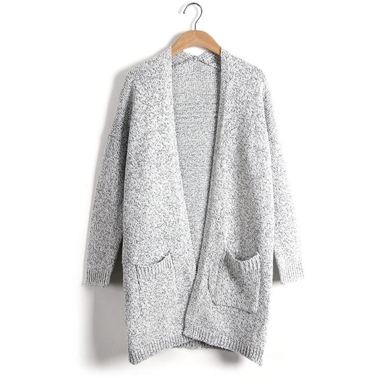 Women Casual Knitting Long Cardigan Female Loose Kimono Cardigan Jumper Warm Winter Sweater Women Cardigan Gray