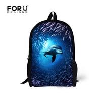 Forudesigns/модные дети животных Школьные сумки Прохладный Дельфин печати рюкзак дети Повседневное ранцы Студент Книга Сумки Mochila