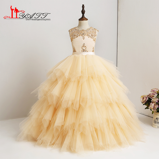 2018 Lace Elegant Cute Little Lace Puffy Gold Pearls Lace Flower Girl Dress  Children kids Ball Gown Girl Party Communion Dress e96f8c4d70d5