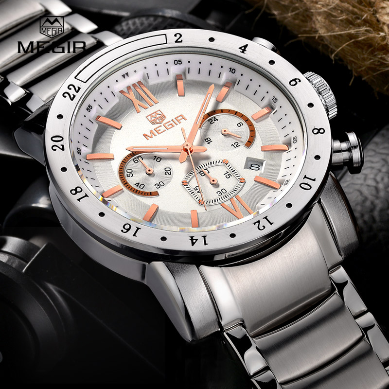 MEGIR hot brand quartz watches for men man's business white wristwatch fashion three-eyes waterproof luminous watch for male megir 2017 fashion creative sport waterproof quartz watch men casual leather brand wristwatch luminous stop wristwatch for male