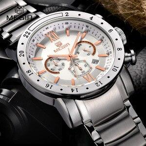 Image 1 - MEGIR montre bracelet à quartz pour hommes, montre bracelet blanche, à la mode, avec trois yeux, étanche et lumineuse, pour hommes, tendance
