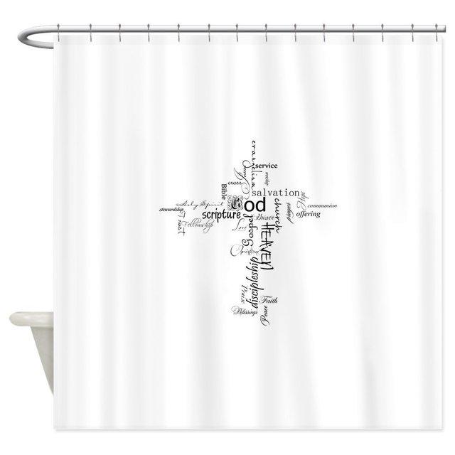 Christian Cross Word Collage Decorative Fabric Shower Curtain Bath