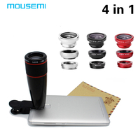 4in1 12x Black Zoom Telescopic Optical Lens Macro Wide Angle Lens Fish Eye Lens With Clip